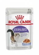 Royal Canin Sterilised пауч для стерилизованных кошек, мелкие кусочки в желе, 85 г