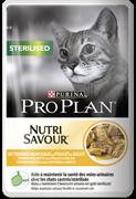 PRO PLAN NUTRISAVOUR Sterilised для стерилизованных кошек, с курицей в соусе, 85г