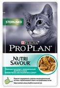 PRO PLAN NUTRISAVOUR Sterilised для стерилизованных кошек с океанической рыбой в соусе, 85г